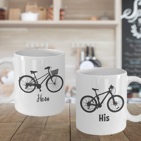 His and Hers Bike Matching Couple Bicycle Mugs