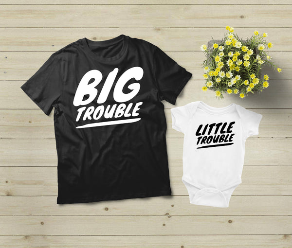 Father and Son Shirts Matching Big Little Trouble Funny Dad Gift