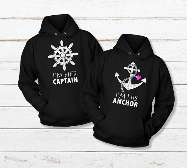 His and Hers Couples Hoodies Captain Anchor Sweatshirt