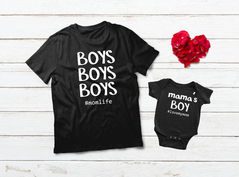 01676117111c Mother and Son Matching Outfits Mama's Boy Shirt ...