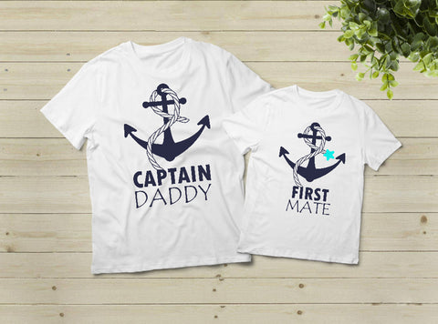 8afc7a7e Captain Daddy First Mate Father and Son Shirts Matching Cruise Gift ...