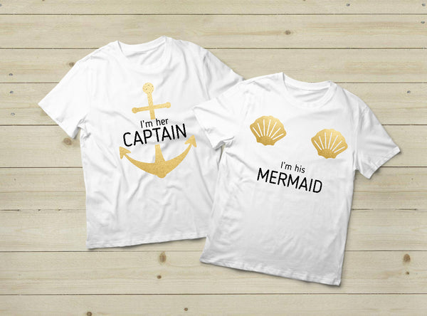 Couples T Shirts His and Hers Captain Mermaid Outfits