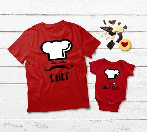Father Son Shirts Matching Chef and Sous Chef Dad and Boy Gift