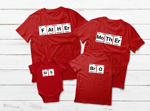 8c9e1160 Family Outfits Father Mother Sis Bro Periodic Table Matching Shirts ...