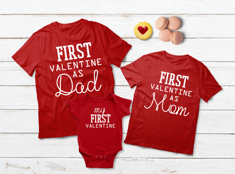 Baby First Valentine Family Matching Outfits Dad Mom Son Daughter Shirts