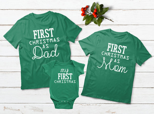 Baby First Christmas Family Outfits Dad Mom Son Daughter Matching Shirts Green