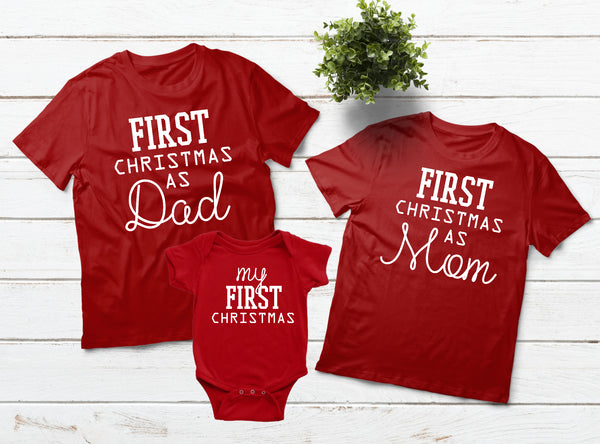 Baby First Christmas Family Outfits Dad Mom Son Daughter Aunt Gramma Matching Shirts