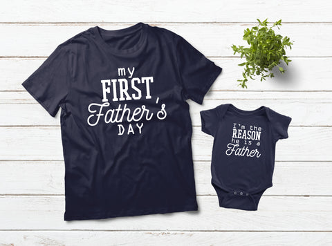 1st Father's Day Father and Son Shirts