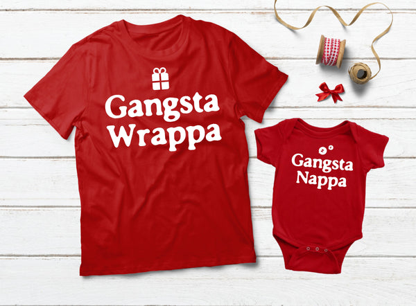 Gangsta Wrapper Gangsta Napper Mommy and Me Outfits Christmas