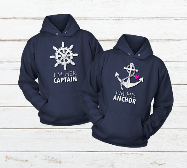 Couples Hoodies Captain Anchor Matching Sweatshirt