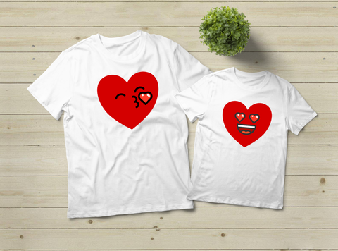 Mommy and Me Outfits Funny Heart Emoji Valentine