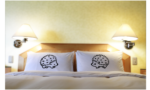 Cute Hedgehogs Couples Pillow Cases Bedding Gift Set