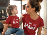 Mommy and Me Outfits Mama Mini Mother Daughter Shirts-Red