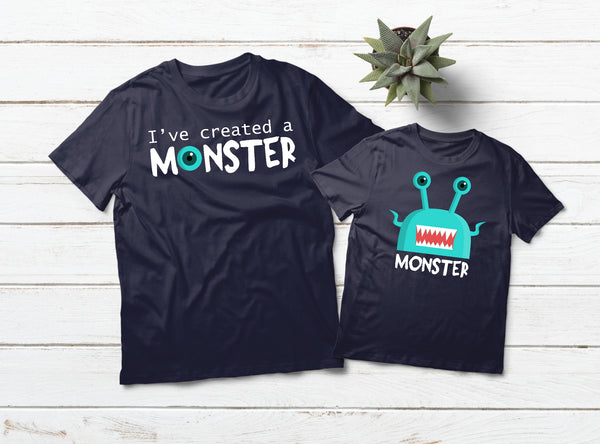 03f75f23 Daddy Son Matching Shirts I Created a Monster -Navy – Matchizz