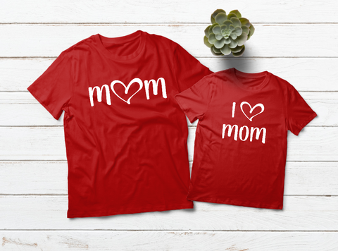 Mommy and Me Outfits I Love Mom Valentine Shirts