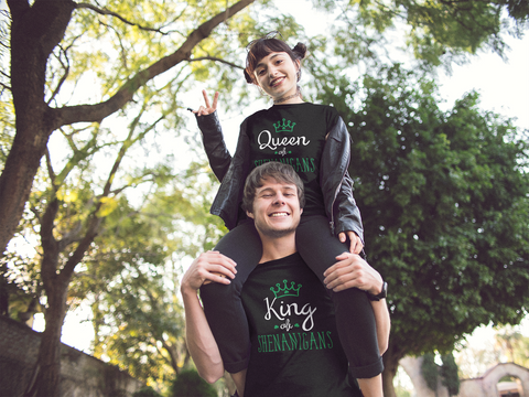 Couples T Shirts Queen and King of Shenanigan St Patricks Outfits