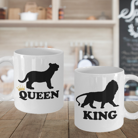 Matching Couple Mugs King Queen Lion Gift His Hers Coffee Cup