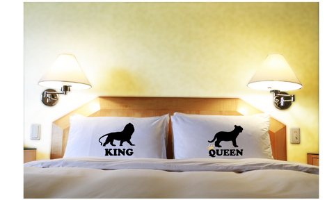 King and Queen Couple Pillowcases His Hers Matching Pillow Cover