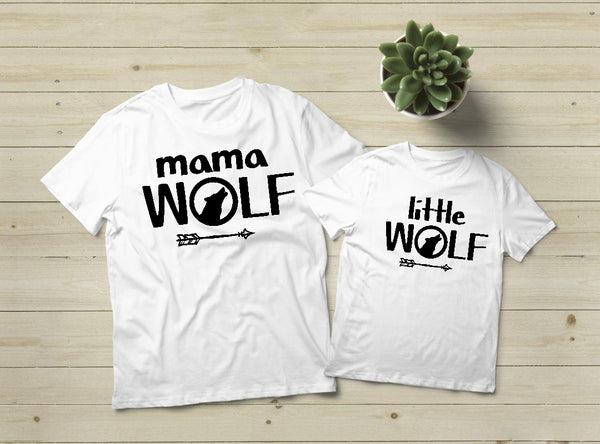 Mommy and Me Outfits Mama Wolf Shirt Little Pup