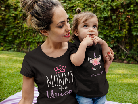 Mother Daughter Matching Shirts Unicorn Mommy and Me