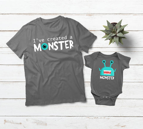 Daddy Son Matching Shirts I Created a Monster -Gray