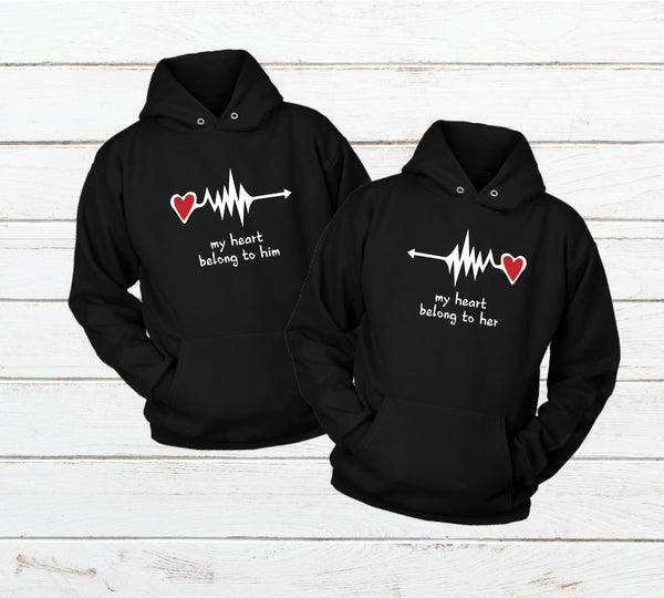 Couples Hoodies My Heart Belong to You Black