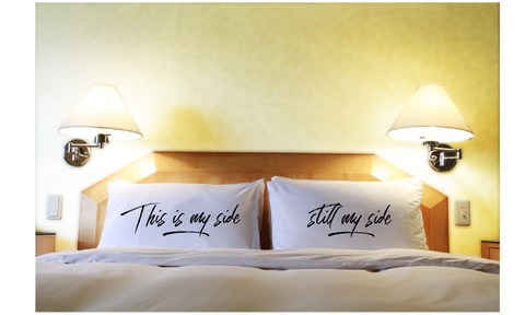 Couples Pillowcases Funny Bed Time Pillow Gift My Side Set