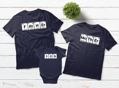 Family Outfits Father Mother Son Periodic Table Matching Shirts