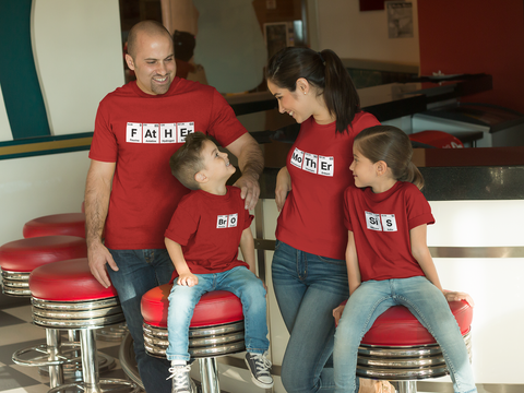 Family Outfits Father Mother Sis Bro Periodic Table Matching Shirts