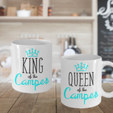 Camping Couple Mugs Queen King of the Camper Gift