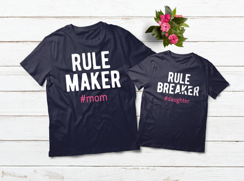 Mommy and Me Outfits Rule Maker Rule Breaker Matching Shirts Gift