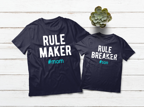 Mommy and Me Outfits Rule Maker Breaker Mother and Son Matching Shirts
