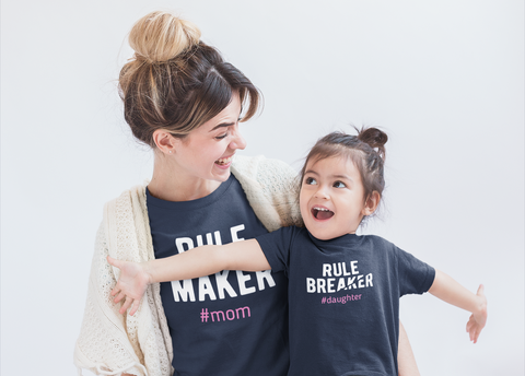 9fc9dbfbc ... Mommy and Me Outfits Rule Maker Rule Breaker Matching Shirts Gift