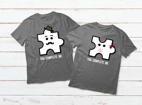 You Complete Me Funny Puzzle Couple Shirts Matching