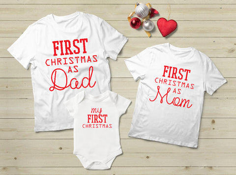 Baby First Christmas Family Outfits Dad Mom Son Daughter Matching Shirts- White