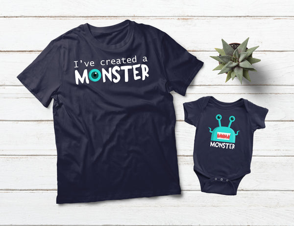 Daddy Son Matching Shirts I Created a Monster -Navy
