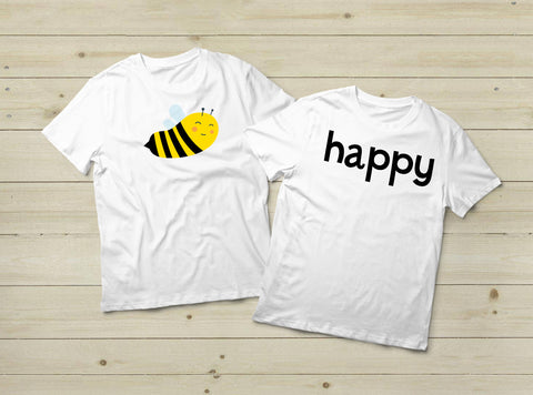 5730e010 Couples Matching Shirts Be Happy Funny Pun Bee Quote ...