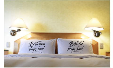 Best Mom & Dad Sleeps Here Couple Pillowcases Gift