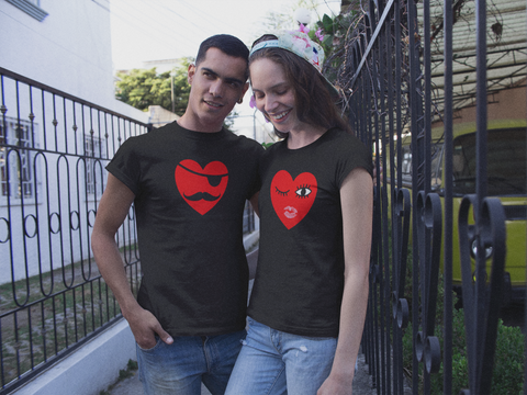 Couples Shirts Valentine Gift Heart Emoji