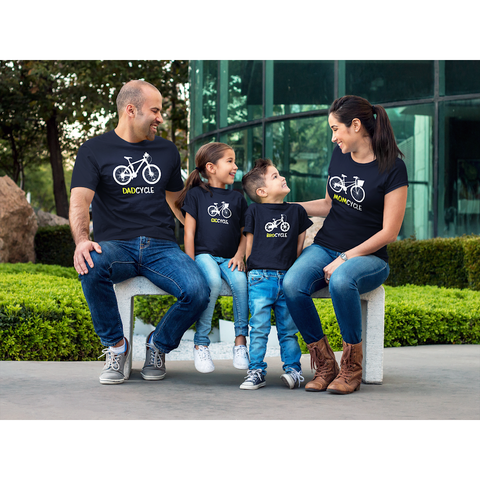 Cycling Family Outfit Bicycle Mom Dad Son Daughter Matching Shirts