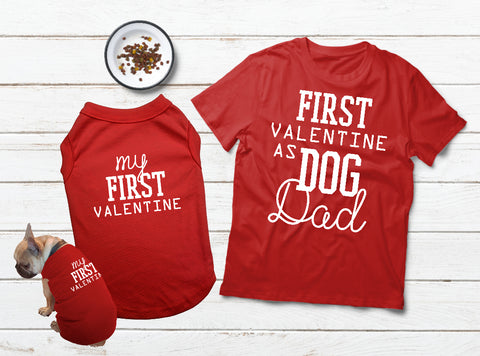 T Shirt For a Dog Valentines Day Matching Pajamas with Dog Dad