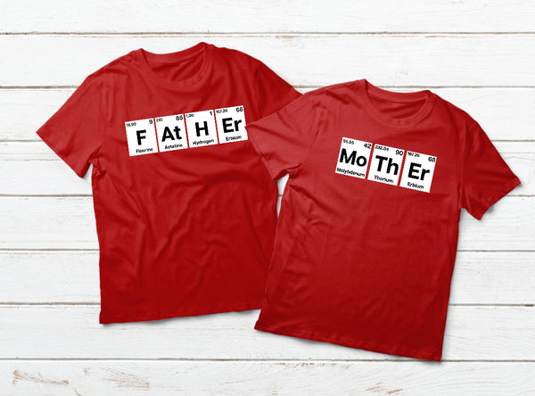 Father Mother Shirts Periodic Table Family Outfit