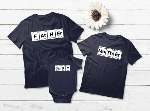 Family Outfits Father Mother Baby Periodic Table Matching Shirts