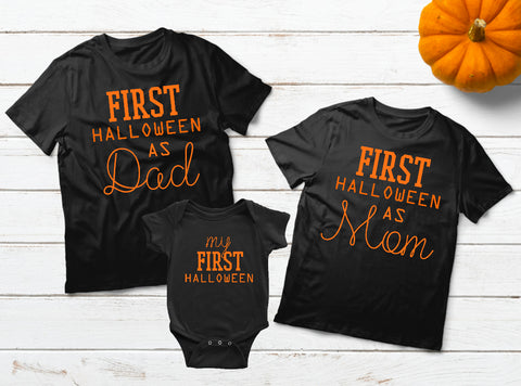 Baby First Halloween Family Outfits Dad Mom Son Daughter Matching Shirts