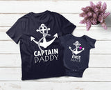 Daddy Daughter Matching Shirts Captain First Mate-Navy
