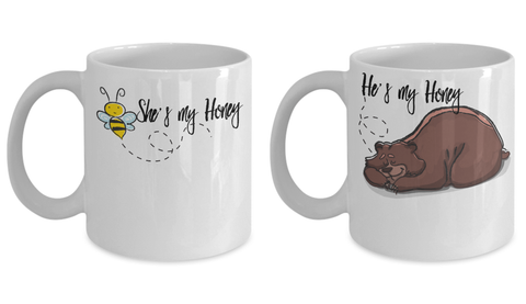 Couple Matching Mugs Honey Bee and Bear Funny Gift
