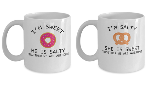 Matching Couple Mugs Salty and Sweet Funny Gift Set