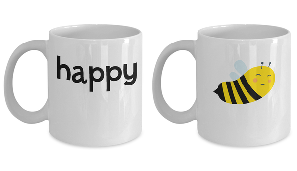 Couple Matching Mugs Bee Be Happy Set Gift