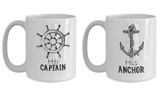 Couple Matching Mugs Set Her Captain His Anchor Cruise Gift