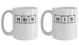 His and Hers Couple Coffee Mugs Matching Periodic Table Set